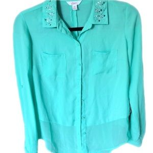 Candies like new teal button down with gems